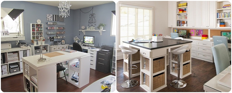 Inspirations atelier loisirs cr atifs une craft room pastel - Faire un ilot central ...