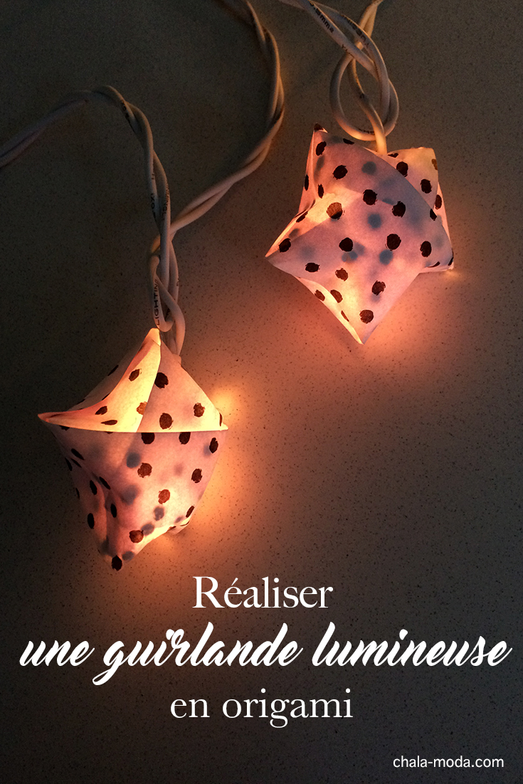 diy guirlande lumineuse en origami étoiles